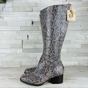 Born Audrina Reptile Embossed Tall Boots Size 6.5M